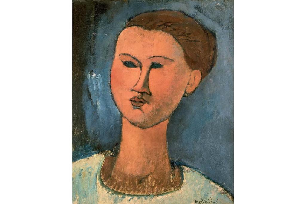 Pinakoteka BRERA - zbiory. Amedeo Modigliani, Głowa młodej kobiety, 1915, olej napłótnie, 46x38cm