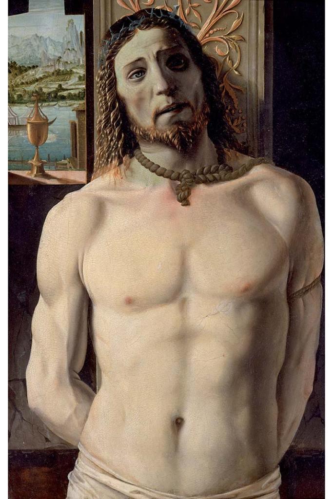Pinakoteka BRERA - zbiory. Bramante, Chrystus przy słupie, ok.1485–1490, tempera, olej napłótnie przyklejonym dodeski, 93,7x62,5cm