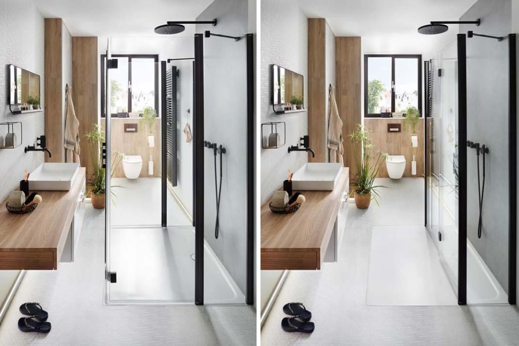 Czarno-biała łazienka, kabina prysznicowa LIGA Kermi