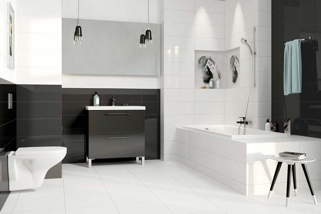 Czarno-biała łazienka, płytki ceramiczne Simple Art Cersanit
