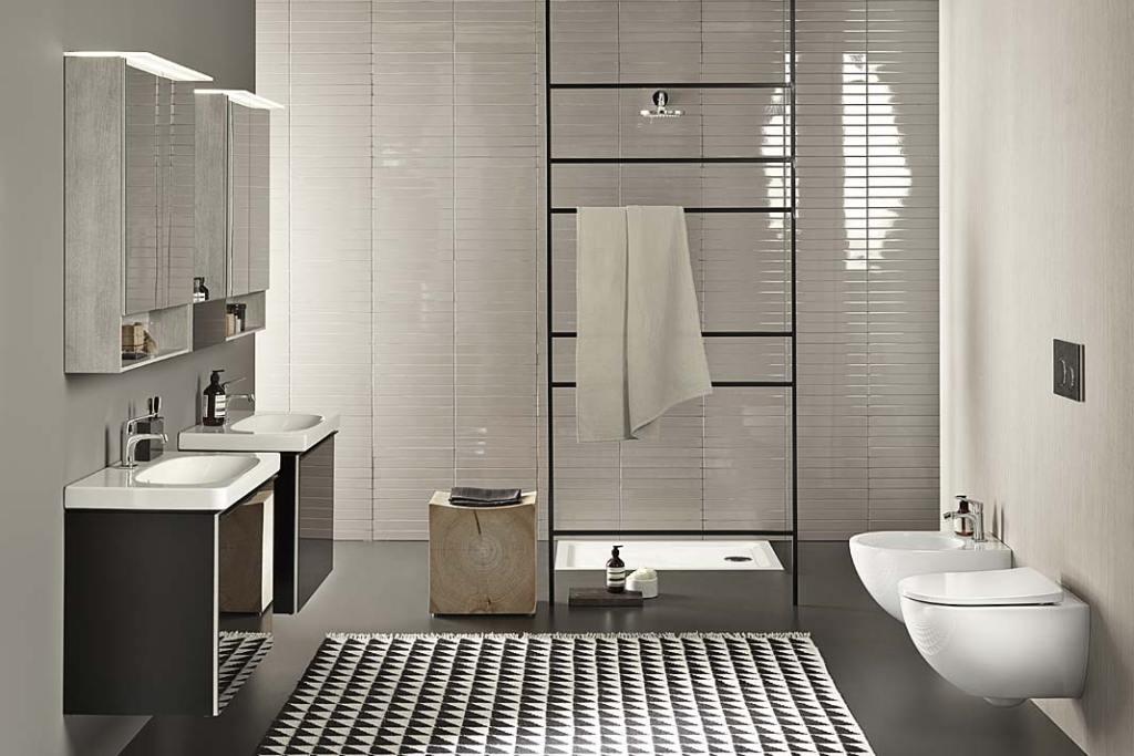 Czarno-biała łazienka z kolekcją Geberit Acanto