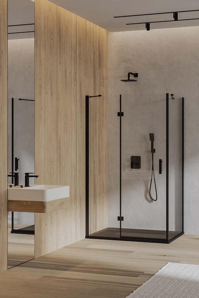 Kabina prysznicowa walk‑in MANHATTAN oraz brodzik kompozytowy STONE zoferty OMNIRES