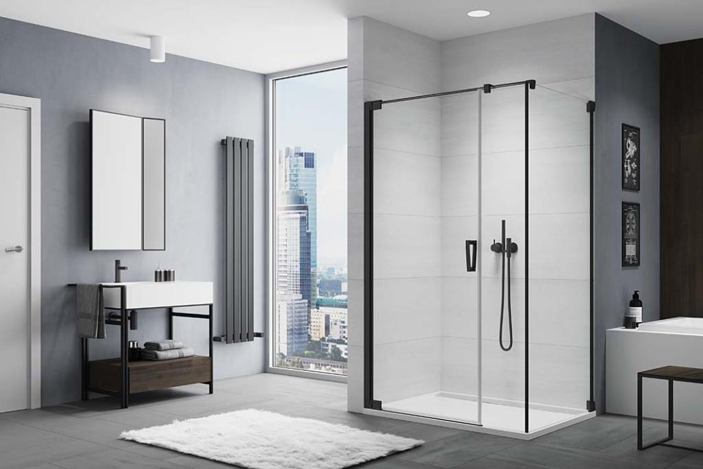 Łazienka czarno-biała, kabina prysznicowa CADURA CA31C+CAT5 BLACK‑LINE SanSwiss