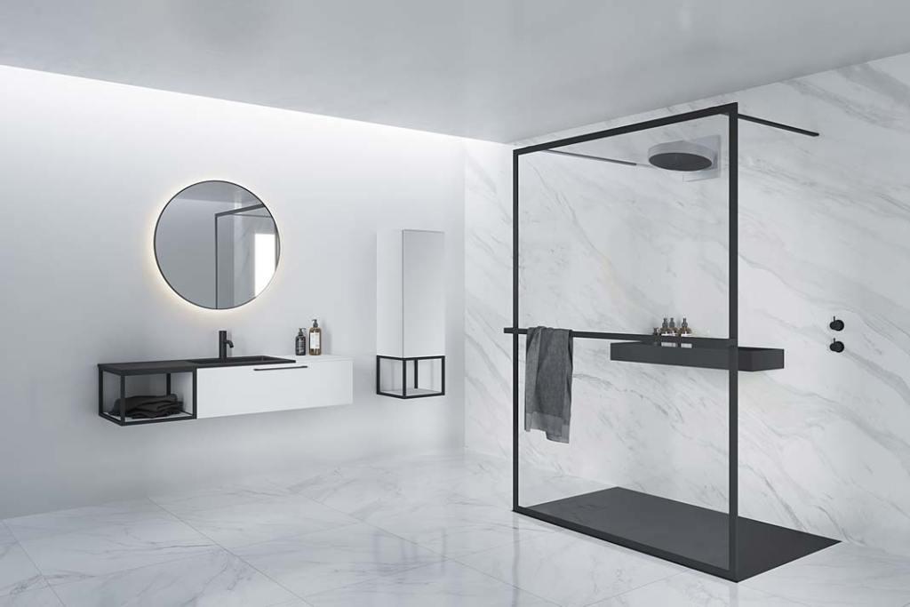 Łazienka czarno-biała, kabina walk‑in Lucid GD401 RIHO