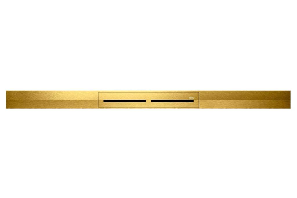 Ekskluzywna łazienka - odpływ prysznicowy TECEdrainprofile, wykończenie optyczne złoto