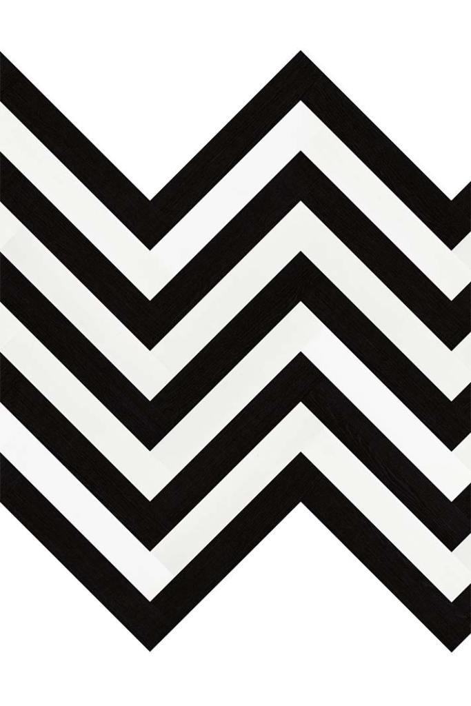 Czarno-biała jodełka - zygzak na podłodze z płytek wineo 1500 wood XS Pure White i Pure Black