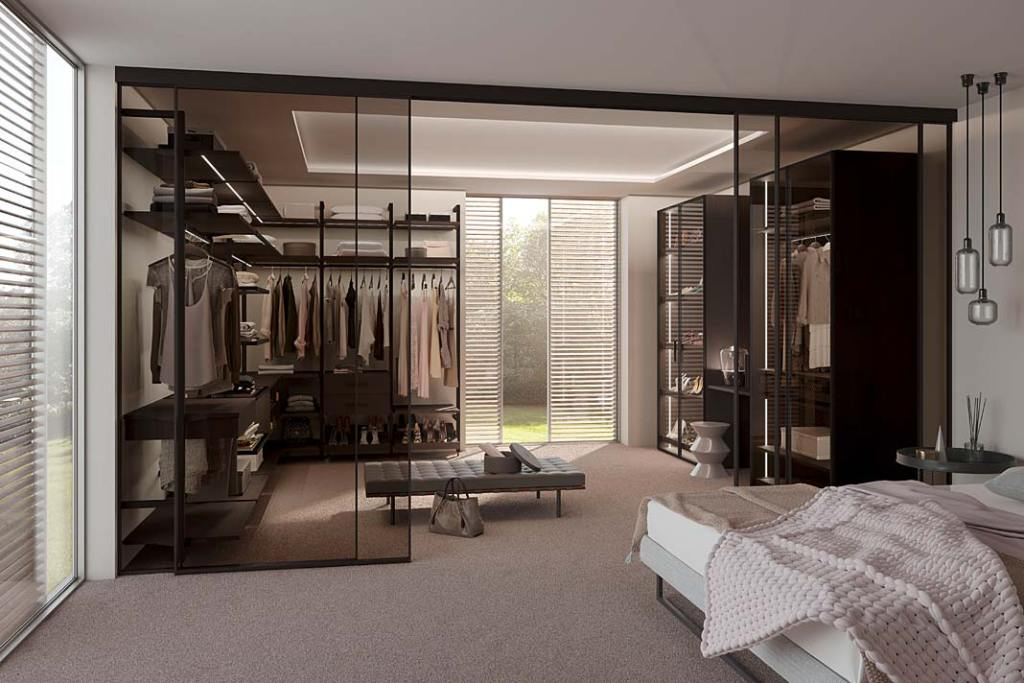Garderoba Raumplus typu walk-in przy sypialni