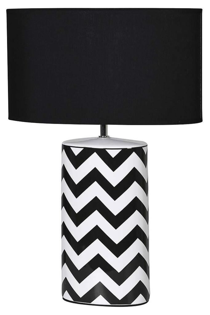 Lampa Lolita ze Sweetpea&Willow ozdobiona modnym, czarno-białym  zygzakiem