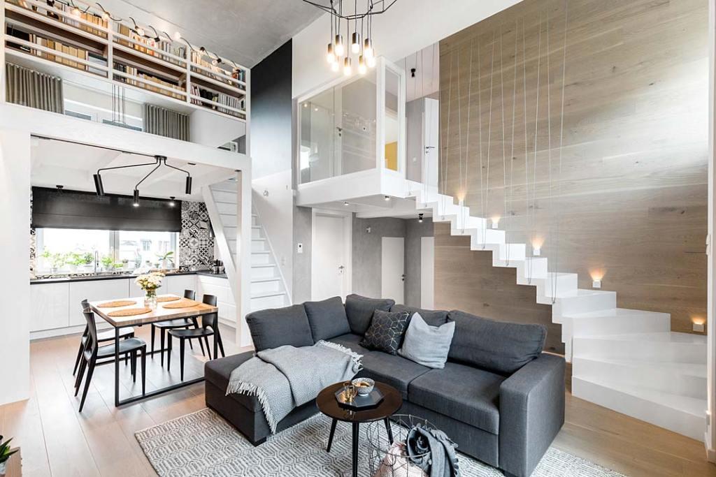 Mieszkanie z antresolą. Projekt Monika Staniec